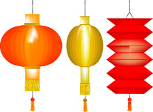 Set Of Three Chinese Paper Lanterns