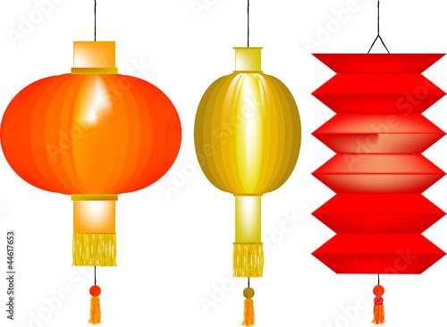 Set of three Chinese paper lanterns Wallpaper Mural