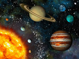 Fototapeta Kosmos - Realistic Solar System display contains the Sun and nine planets