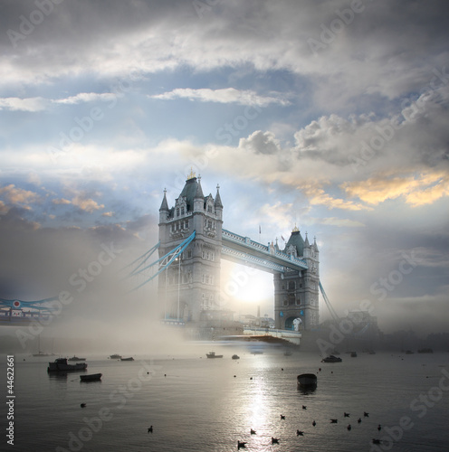 Poster London Tower Bridge with fog in London, England