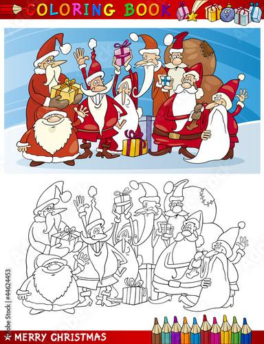 Tuinposter Doe het zelf Cartoon Santa Claus Group for Coloring