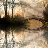 Fototapeta Forest - Autumn - Old bridge in autumn misty park