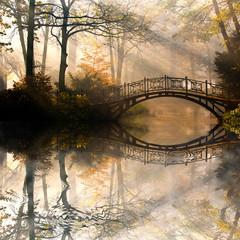 Fototapeta Romantyczny Autumn - Old bridge in autumn misty park