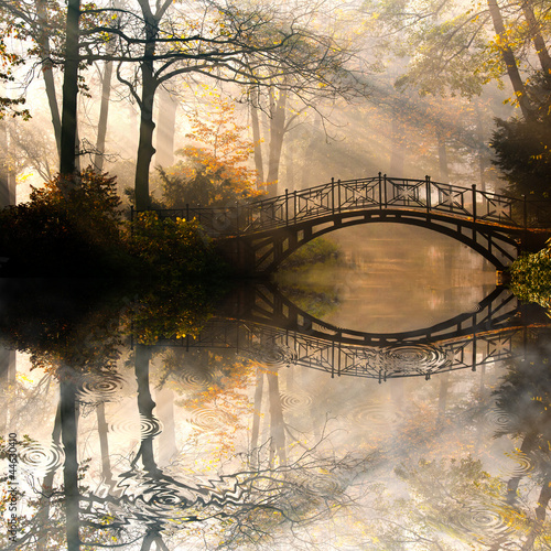 Fotobehang Bruggen Autumn - Old bridge in autumn misty park