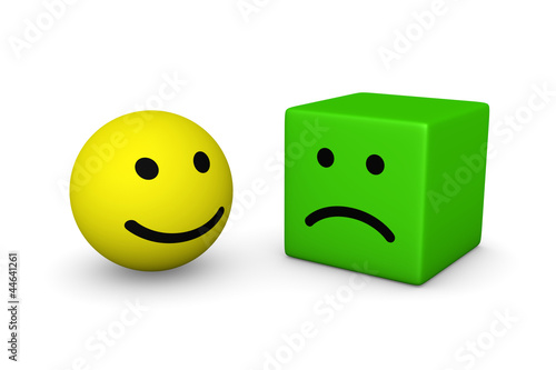 Happy smiley ball and sad smiley cube - Buy this stock