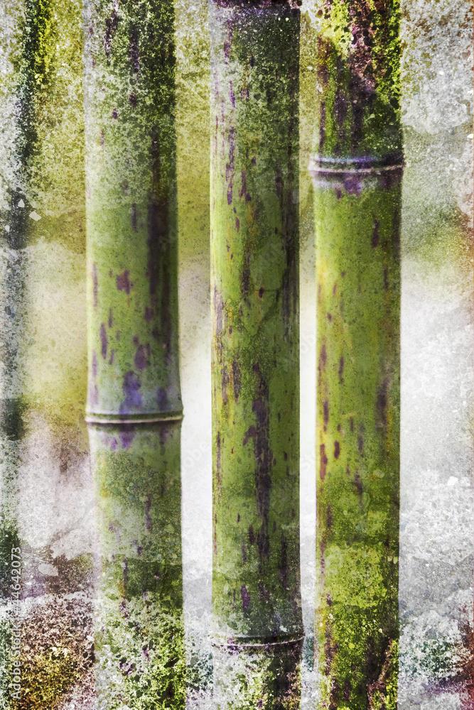 Plissee mit Motiv - Grunge Bamboo backdrop