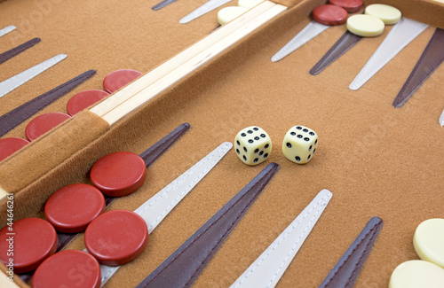 Fototapeta Dice and pieces of backgammon game