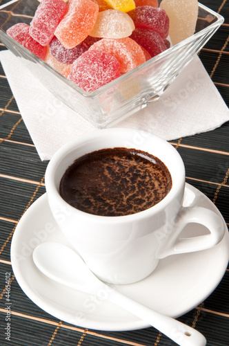 Fotobehang Chocolade cup of coffee and jelly candy