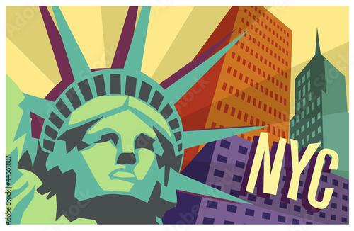 Fototapeta na wymiar Illustration of New York City and Statue of Liberty