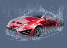 Sports Car Sketch. Original Car Design.