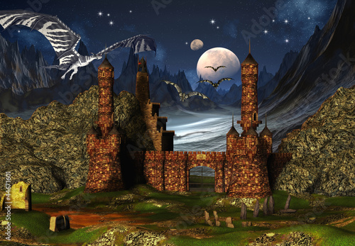 Foto op Aluminium Draken Fantasy Scene With A Castle And Dragons