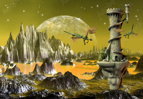 Foto op Aluminium Draken Fantasy Scene With Dragons And A Tower