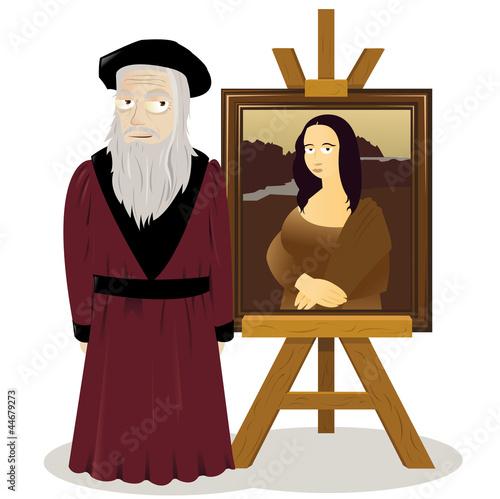 Fotografie, Obraz  Mona Lisa Easel and Leonardo Da Vinci