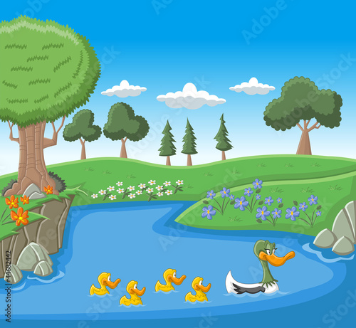 Poster Rivier, meer A mother duck swimming with her ducklings on blue lake