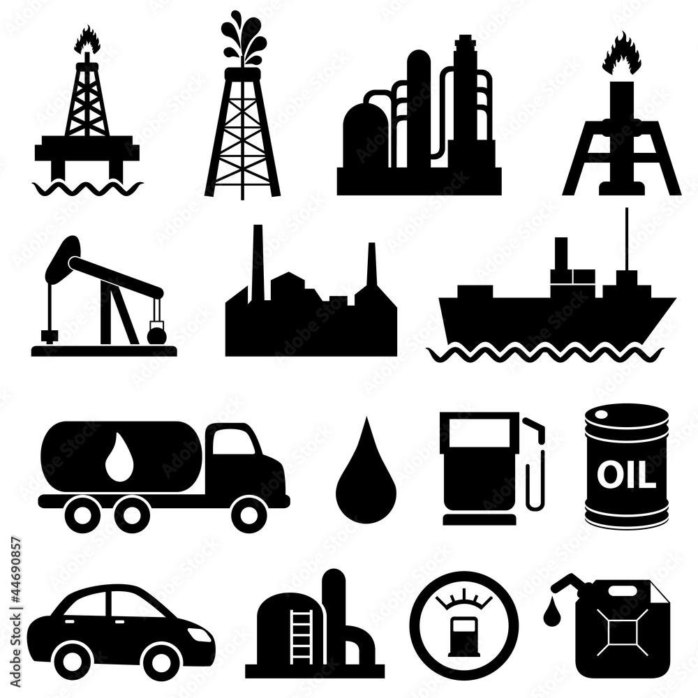 Fototapety, obrazy: Oil industry icon set