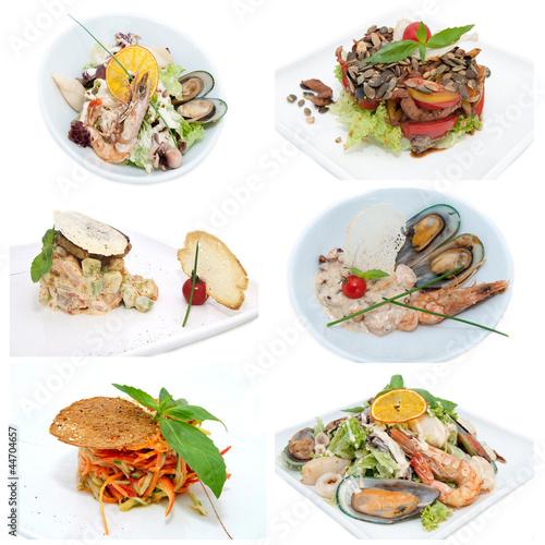 Foto op Canvas Snack салаты из овощей и морепродуктов