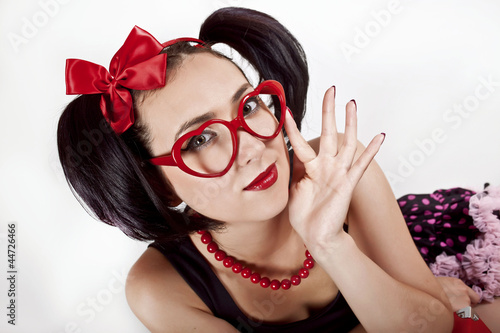 Fototapety, obrazy: girl in the red spectacles with a bow