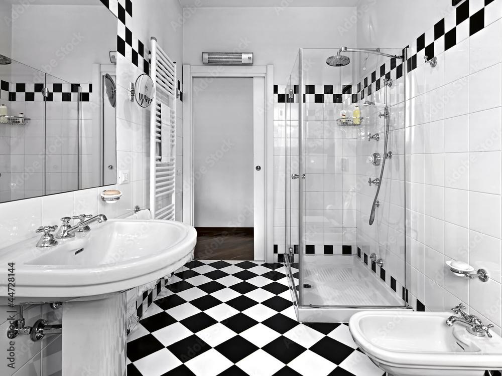 Bagno Moderno Bianco E Nero.Bagno Moderno In Bianco E Nero Con Doccia Wall Mural Wallpaper