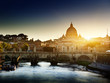 view on Tiber and St Peter Basilica