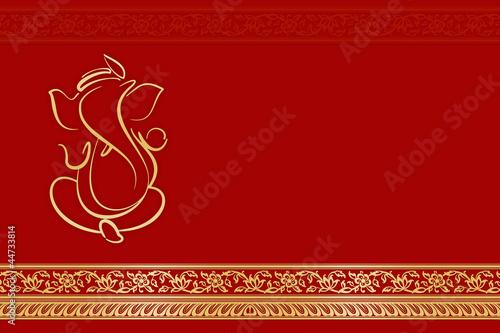 Fotografiet  Greetings & Invitation card with Ganesha,India