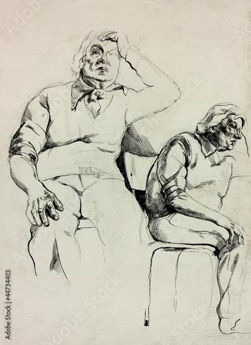 Deurstickers Illustratie Parijs Sketch of a man