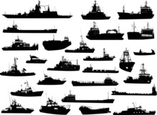 Set Of 26 Silhouettes Of Sea Y...