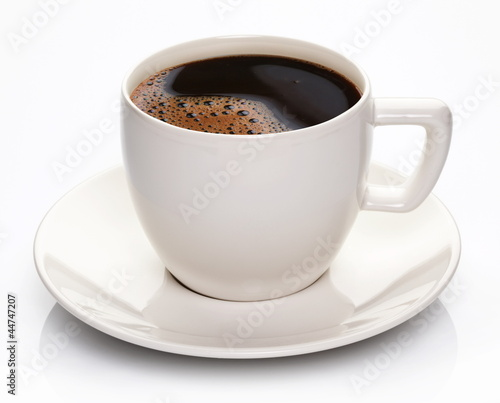 Coffee cup and saucer on a white background. Fototapeta