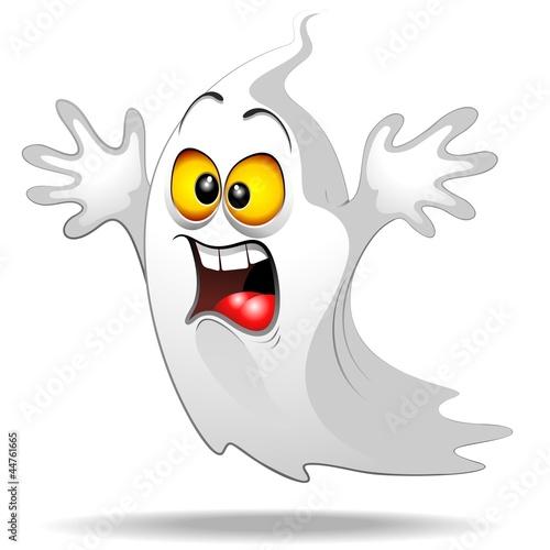 Fotografie, Obraz  Scared Ghost Funny Halloween Cartoon Fantasma Spavento-Vector