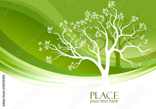 Wall Murals Pistachio Abstract Tree in olive-green background