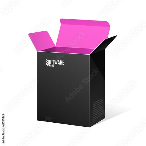 Boîte de logiciel paquet ouvert noir à l'intérieur rose violet violet Poster
