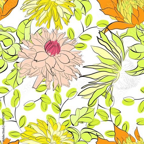 Keuken foto achterwand Abstract bloemen Romantic seamless pattern