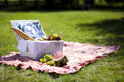 Wall Murals Picnic Fresh food from picninc basket on grass in the garden