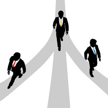 Business Men Walk Diverge On 3...