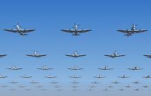Spitfire Fighters Flying Overhead. 3d Illustration