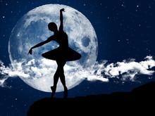 Ballerina Dancing At Moonlight