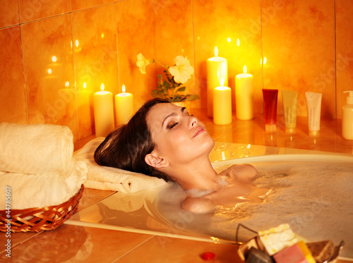 Fotografie, Obraz  Woman take bubble  bath.