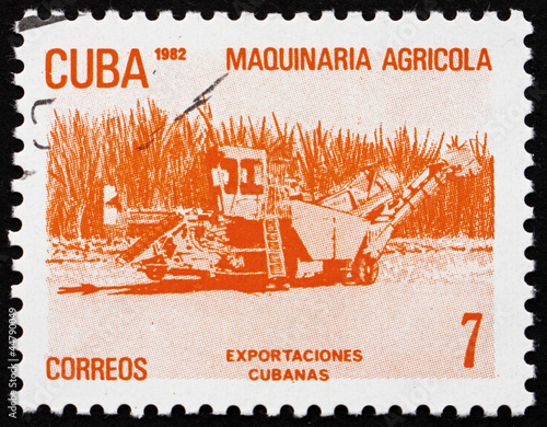 Photo Postage stamp Cuba 1982 Agricultural Machinery, Cuban Export
