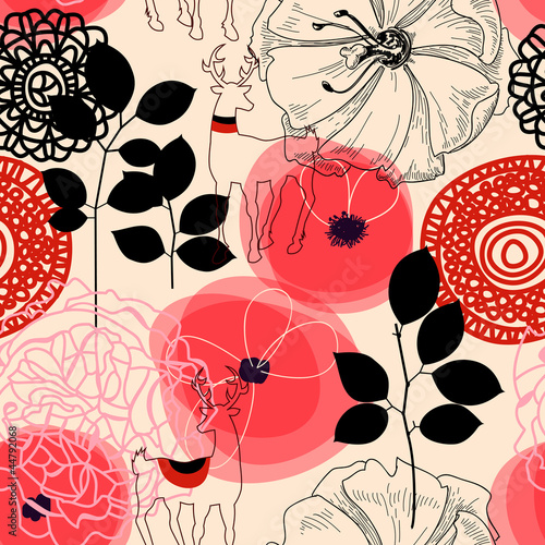 Deurstickers Abstract bloemen Flowers and deers seamless pattern