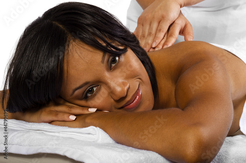 Tuinposter Gymnastiek African American Female getting a massage