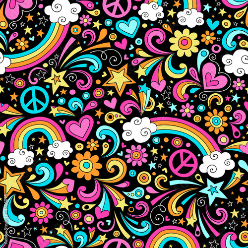 Photo  Groovy Rainbows Psychedelic Doodle Seamless Vector Pattern