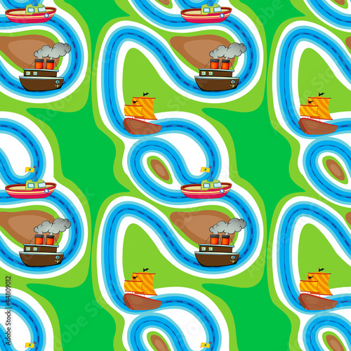 Route Seamless pattern with kid's theme