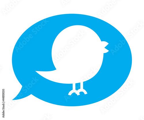 Obraz Twitter bird inside blue speech bubble - fototapety do salonu