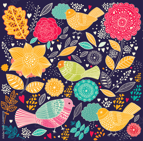Vector Floral pattern with birds - 44811228