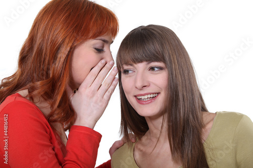 Fotografering  Young woman whispering a secret into her friend's ear