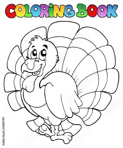 Spoed Foto op Canvas Doe het zelf Coloring book happy turkey