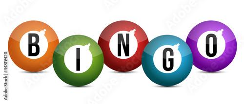 brightly coloured bingo balls illustration design Canvas Print