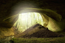 Cave Entrance With Man And Light