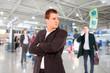 successful businessman in a modern airport