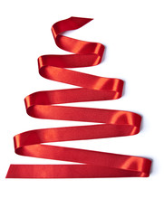 Red Ribbon In Shaped Of Christmas Trees