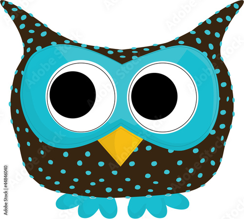 Photo Stands Owls cartoon blue dotted owl